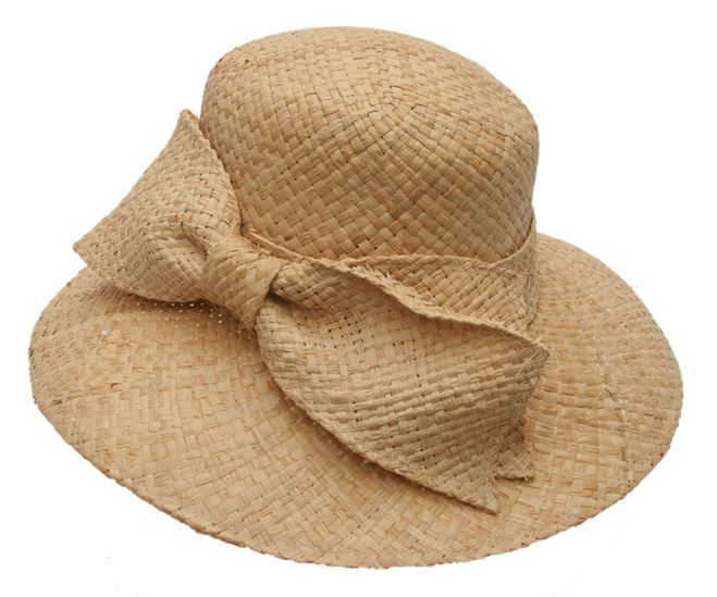 Natural Raffia Monochromatic Lampshade Summer Sun Hat w:Oversized Bow.
