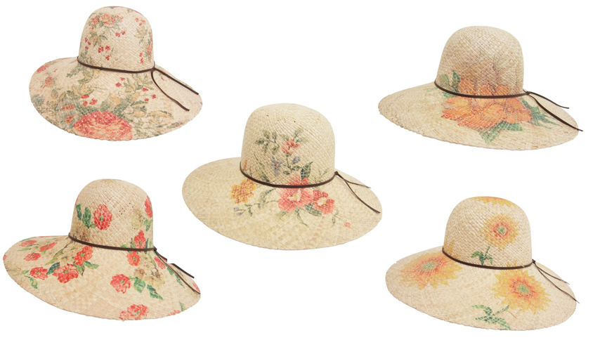 Natural Raffia Straw Hats w/ Floral Painted Design and leather belt around hat- Boardwalk Style