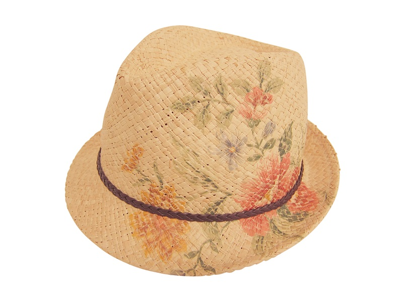 Natural Raffia Summer Staw Hat Fedora w: Painted Flowers- Boardwalk Style