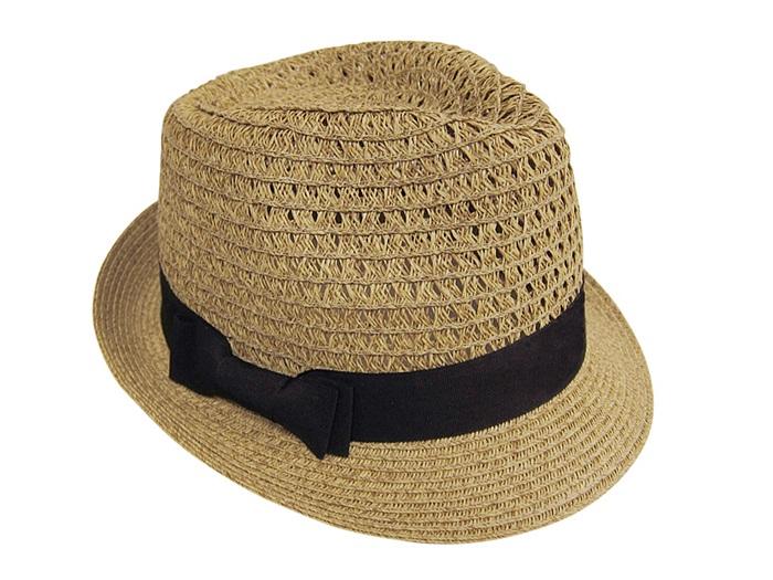 Straw Hat Fedora w/ Open weave Crown Summer Beach Essential- Boardwalk Style