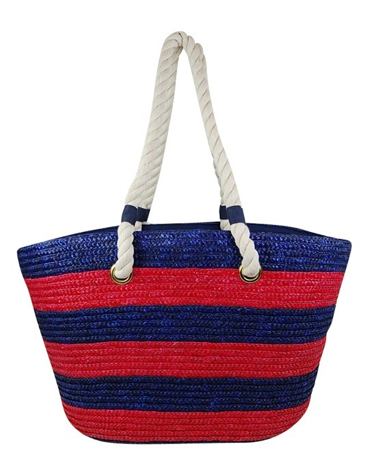 Best Beach Bag 2 Color Striped Straw Tote w/ Rope Handles Summer 2014- Boardwalk Style