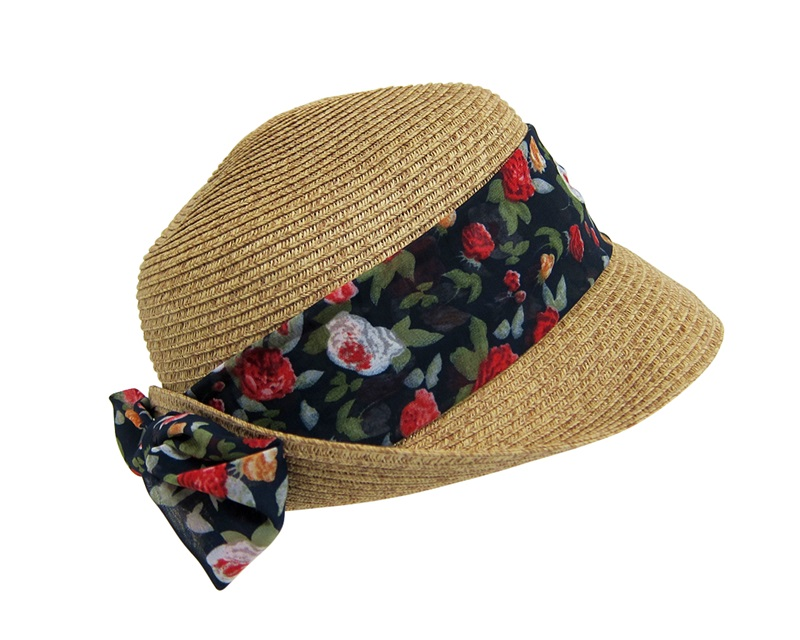 b4d76cbd8f6 Straw Cloche Sun Visor Hat with Floral Sash and Bow- Boardwalk Style