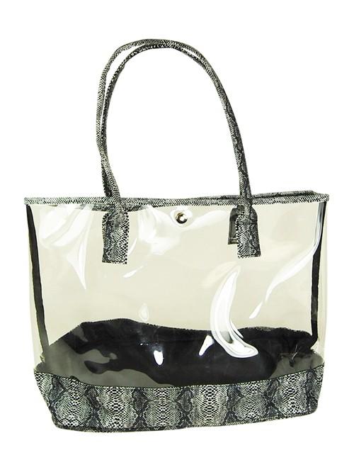 Wide See Through Plastic PVC Tote w/ Faux Snakeskin Cute Summer Beach Bags- Boardwalk Style