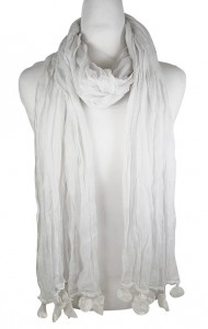 Boardwalk Style Scarves White Sheer Lightweight Beach Scarf- Boardwalk Style