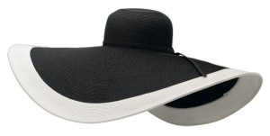 Extra Wide Black and White Two Tone Sun Hat- Boardwalk Style