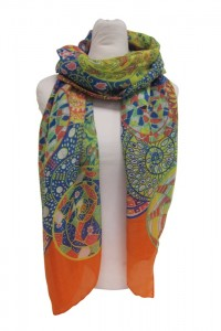 Psychedelic Paisly Printed Scarf Lightweight Summer Scarves- Boardwalk Style