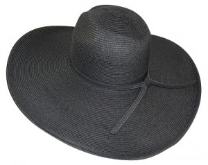Womens Sun Hats Black Straw Floppy Sun Hat- Boardwalk Style