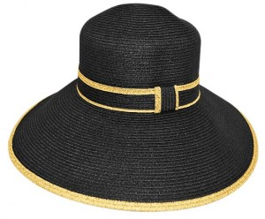 Womens Sun Hats Black Straw Lampshade Hat- Boardwalk Style