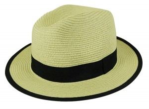 Straw Fedora with Colored Trim- Boardwalk Style