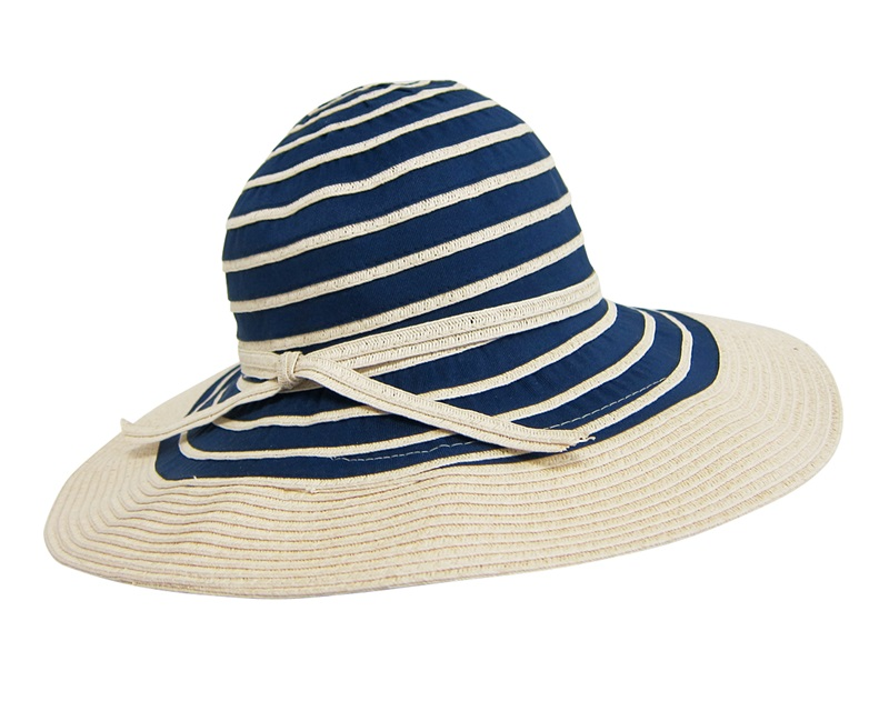 Mixed Braid Striped Nautical Summer Sun Hat-Boardwalk Style