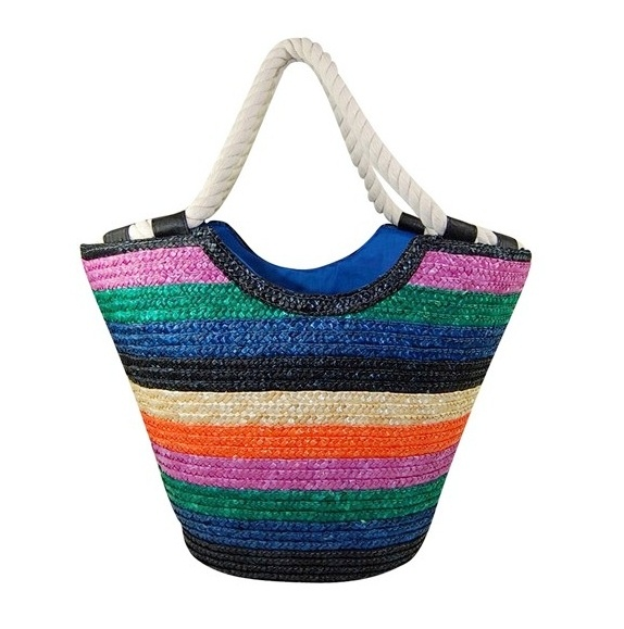 Striped Straw Tote w: Thick Rope Handles