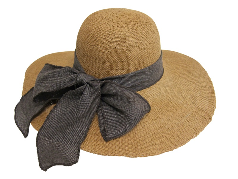 Textured Toyo Sun Hat with Linen Band and Bow at back-Boardwalk Style