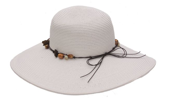 Wide Brim Straw Hats with Beads-Boardwalk Style