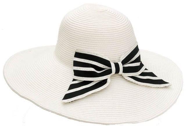 White Hat with Striped Bow-Boardwalk Style