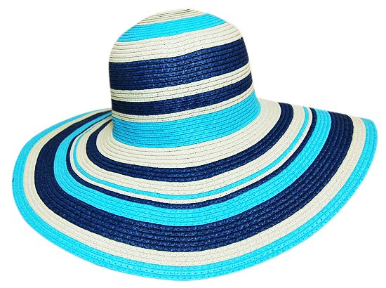 Womens Sun Hats Blue Striped Floppy Hat-Boardwalk Style