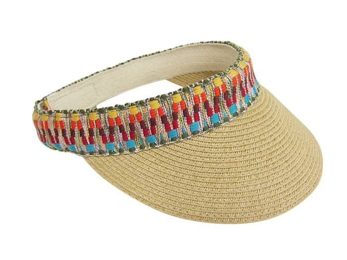 79e9b88bde5 Tribal Print Head Band Summer Visor Hat- Boardwalk Style. Looking for ladies  sun ...