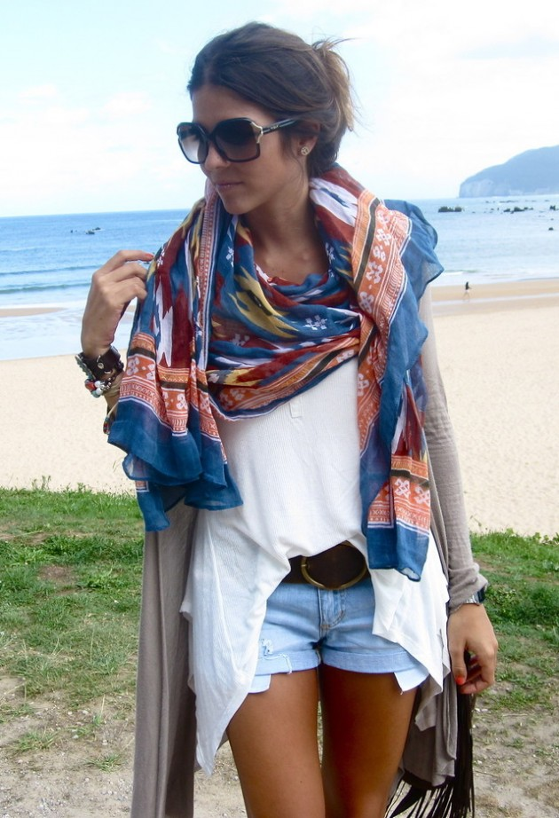 shorts-and-scarf. summer stylejpg