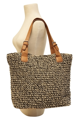 Black Straw Beach Handbag