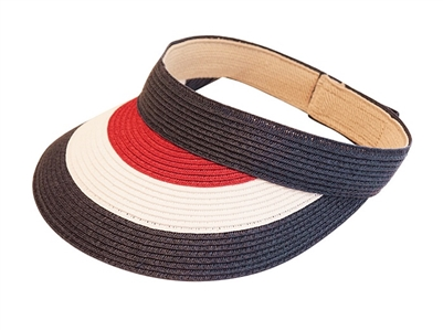 Womens Straw Sun Visor Red White and Blue