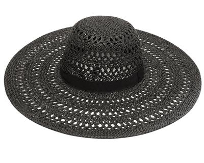 Black Straw Hat Wide Brim