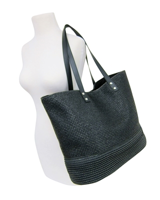 black straw handbags