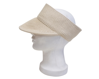 ivory crownless straw visor hat for summer