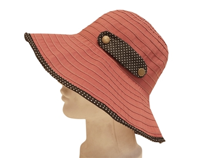 red polka dot ribbon crusher summer hat