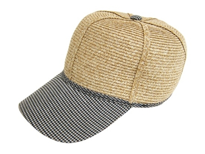 straw and fabric baseball hat