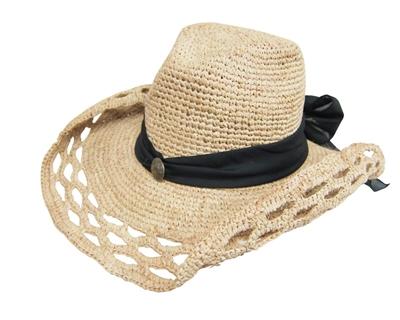summer straw raffia cowboy hat
