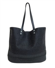 black 2 tone poly straw handbag