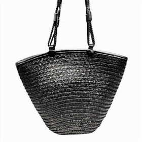 black metallic straw handbag