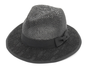 black straw panama hat with lace brim