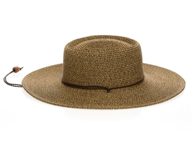 brown buckaroo hat with chin strap