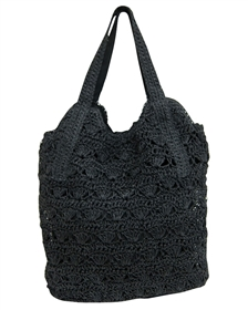 large black crochet straw handbag