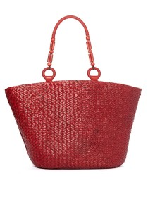 large red straw bag