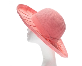 pink pleated ribbon straw summer hat