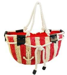 red nautical bag beach essentials