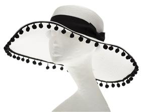 white floppy wide brim summer hat with poms