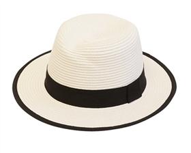 white jazzy straw panama hat