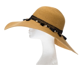 wide brim hat with tassels and pearls