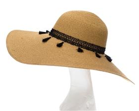 wide brim hat with tassles
