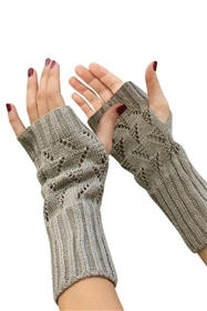 Long Fingerless Cable Knit Gloves