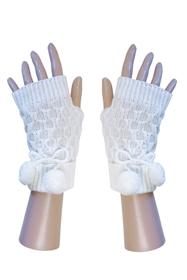 Short Fingerless Gloves w: Poms