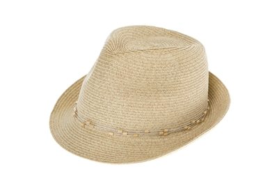 natural wood bead band fedora sun hat b0b9eabc1bee